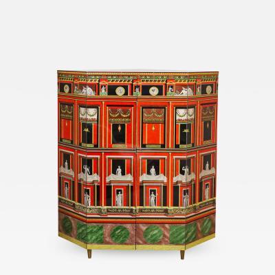 Piero Fornasetti Exceptional Lacquered Encoignure Corner Cabinet