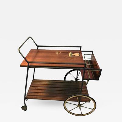 Piero Fornasetti Fantastic Signed Fornasetti Style Italian Mid Century Wood and Brass Bar Cart