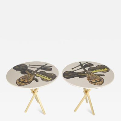 Piero Fornasetti Fornasetti Pair of Side Tables with Musical Instruments Motif 1950s Signed