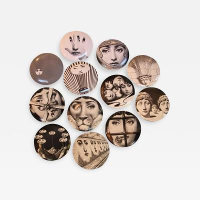 Piero Fornasetti Fornasetti Series of 12 Plates Ceramic Enameled Signed and Numerated