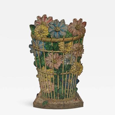 Piero Fornasetti Fornasetti Umbrella Stand With Floral Wicker Basket