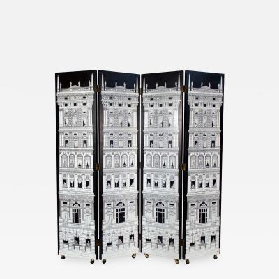Piero Fornasetti Four Panel Black and White Piero Fornasetti Architectura Folding Screen