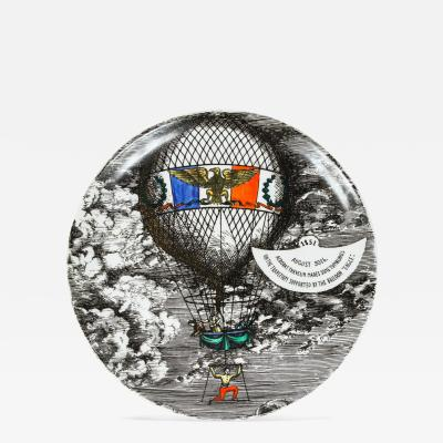 Piero Fornasetti Hot Air Balloon Plate by Fornasetti