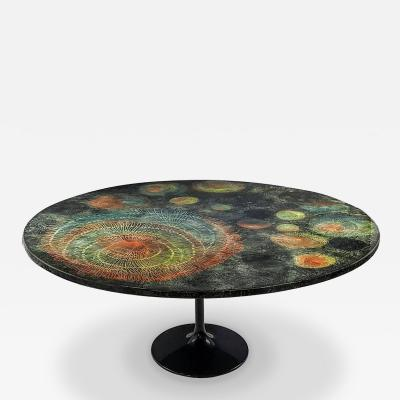 Piero Fornasetti Large Round Madrepore Dining Table by Piero Fornasetti Early and Rare 1950s