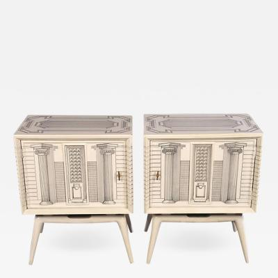 Piero Fornasetti Pair of Architectural End Tables in the Manner of Fornasetti