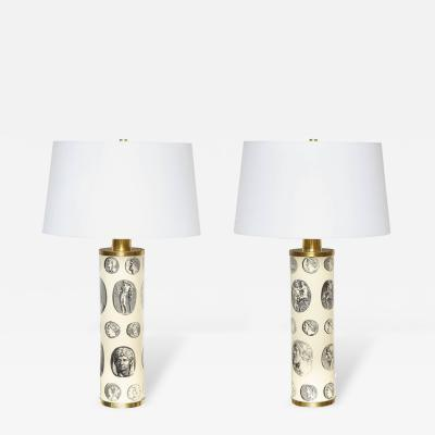 Piero Fornasetti Pair of Fornasetti Cameo Lamps