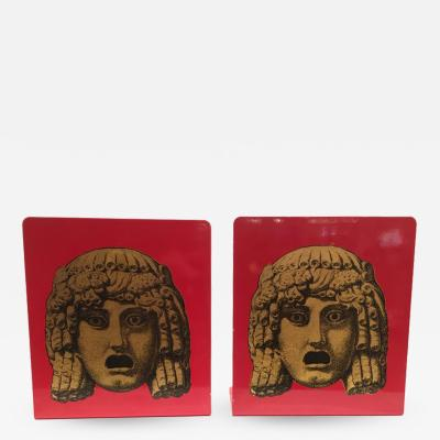 Piero Fornasetti Pair of Maschere Masks Bookends by Piero Fornasetti Italy circa 1950