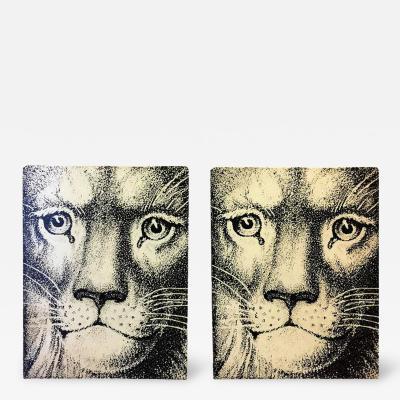 Piero Fornasetti Pair of Piero Fornasetti Lion Face Bookends