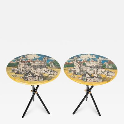 Piero Fornasetti Pair of rare Piero Fornasetti Citt di Carte side tables circa 1950s