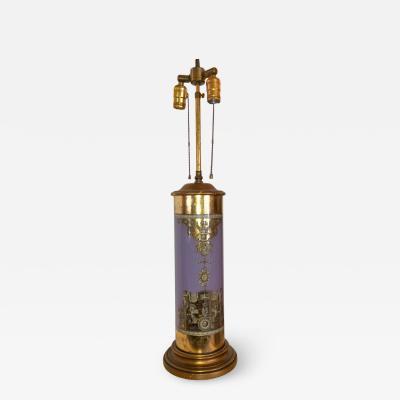 Piero Fornasetti Piero Fornasetti Eglomise Reverse Painted Purple Glass Lamp