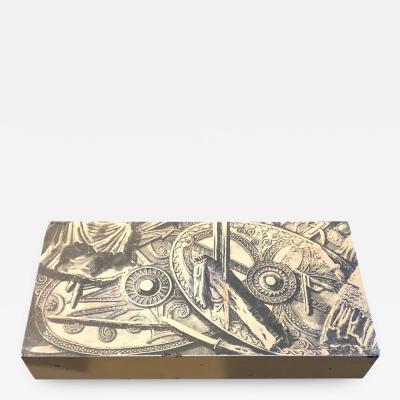 Piero Fornasetti Piero Fornasetti Mahogany and Metal Italian Cigarette Box 1950