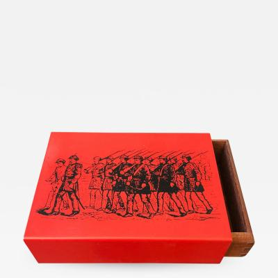 Piero Fornasetti Piero Fornasetti Mid Century Modern Metal and Wood Card Box circa 1960