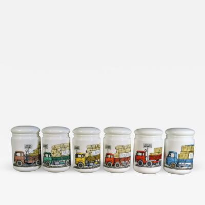 Piero Fornasetti Piero Fornasetti Opaque White Glass Food Jars and Covers made for Fiat