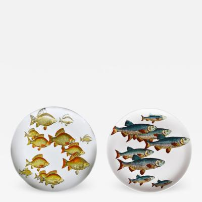 Piero Fornasetti Piero Fornasetti Pair of Plates with Fish Decoration Pesci pattern