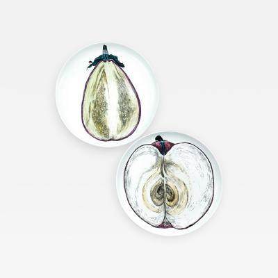 Piero Fornasetti Piero Fornasetti Pair of Sezioni Di Frutta Eggplant Apple Plates Nos 6 7