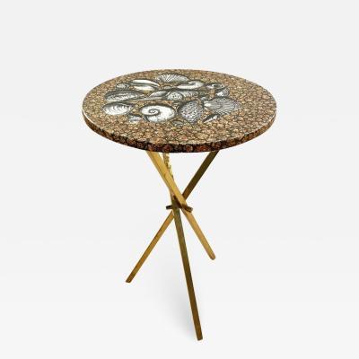 Piero Fornasetti Piero Fornasetti Side Table with Seashell Motif Italy 1960s
