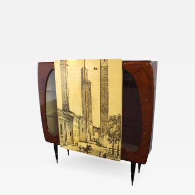 Piero Fornasetti Piero Fornasetti Style High Cupboard Featuring the Medieval Twin Towers