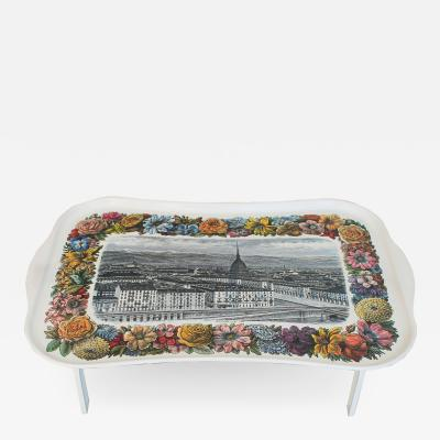 Piero Fornasetti Piero Fornasetti Trestle Tray with a view of Turin in a floral frame