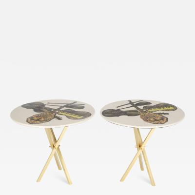 Piero Fornasetti Piero Fornasetti side tables with instrument illustrations