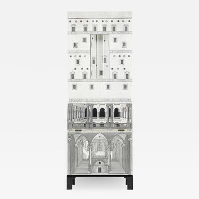 Piero Fornasetti RARE BLACK AND WHITE ARCHITETTURA TRUMEAU CABINET BY PIERO FORNASETTI