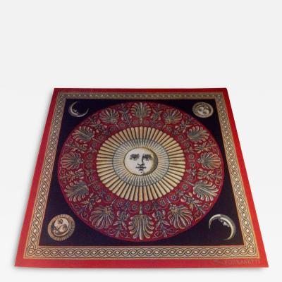 Piero Fornasetti Red Gold Black and Cr me Sun Moon Designed Rug