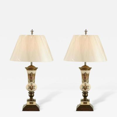 Piero Fornasetti Remarkable Pair of Reverse Painted Lamps in the Style of Piero Fornasetti