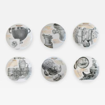 Piero Fornasetti Service of six plates by Piero Fornasetti edition for MARTINI ROSSI of Turin