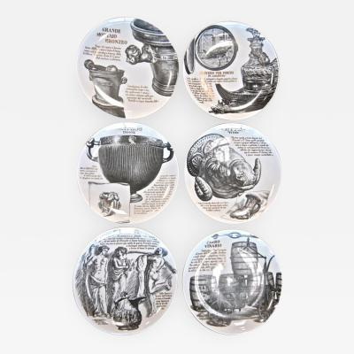 Piero Fornasetti Set of 6 Piero Fornasetti Plates