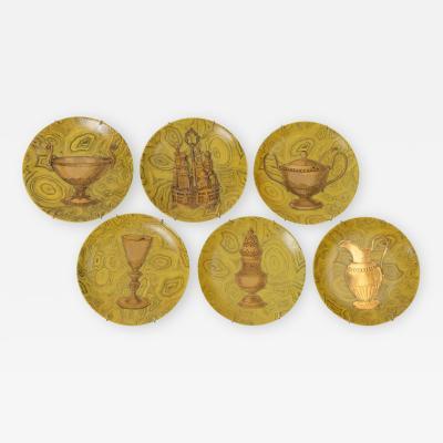 Piero Fornasetti Set of 6 Stoviglie Plates by Piero Fornasetti c 1955
