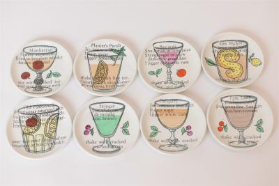 Piero Fornasetti Set of 8 Cocktail Coasters by Piero Fornasetti c 1970