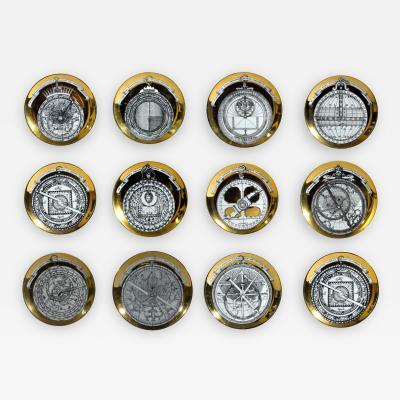 Piero Fornasetti Vintage Piero Fornasetti Porcelain Astrolabe Complete Set of Twelve Plates