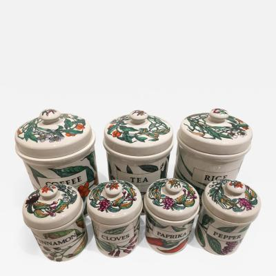 Piero Fornasetti Vintage Set of Seven Ceramic Storage Jars by Piero Fornasetti Italy circa 1960