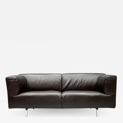 Piero Lissoni Dark Blue Leather Sofa 250MET by Piero Lissoni for Cassina 1988
