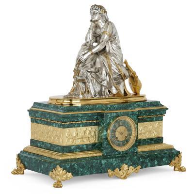 Pierre Alexandre Schoenewerk French ormolu and silvered bronze mounted malachite three piece clock set