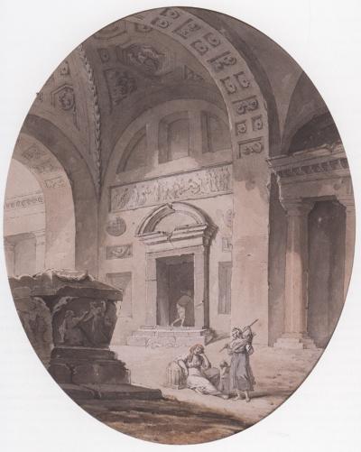 Pierre Antoine de Machy Ruins of a vaulted classical interior