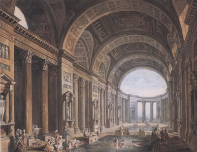 Pierre Antoine de Machy Vaulted Classical Interior with Figures Bathing