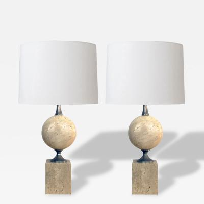 Pierre Barbier A Good Pair of French Pierre Barbier Travertine and Chrome Lamps