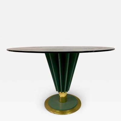Pierre Cardin 1970s Brass and Green Painted Iron Dining Table by Pierre Cardin
