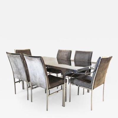 Pierre Cardin Chrome and Smoked Mirror Dining Set by Pierre Cardin 1970s
