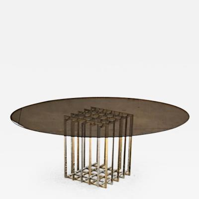 Pierre Cardin Dinning Table by Pierre Cardin With Original Smoked Glass Top