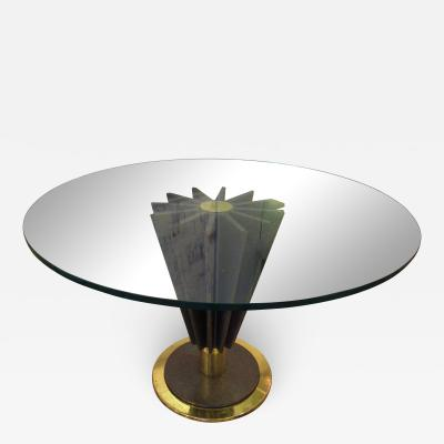 Pierre Cardin French Modern Brass Chrome Steel and Glass Dining Centre Table Pierre Cardin