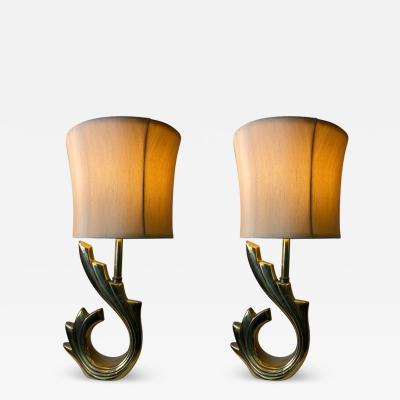 Pierre Cardin MODERNIST PAIR OF PIERRE CARDIN STYLE WAVE LAMPS