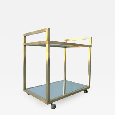 Pierre Cardin Mid Century Modern Italian Brass Glass and Mirror Two Tier Bar Car