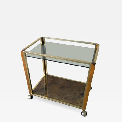 Pierre Cardin Mid Century Modern Pierre Cardin Style Brass Glass and Lacquered Burl Bar Cart