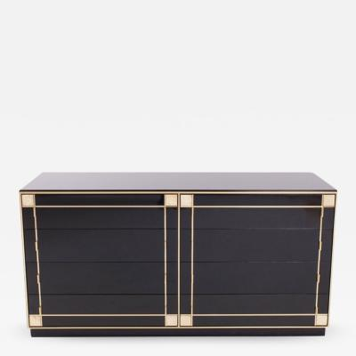 Pierre Cardin Pierre Cardin Black Lacquer and Brass Drawer Cabinet