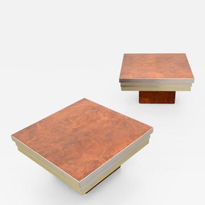 Pierre Cardin Pierre Cardin Burl Wood Chrome Side Tables A Pair
