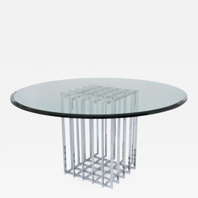 Pierre Cardin Pierre Cardin Chrome Cage Form Pedestal Dining Table