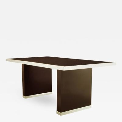 Pierre Cardin Pierre Cardin Chrome and Dark Chocolate Brown Dining Table