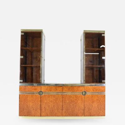 Pierre Cardin Pierre Cardin Signed Burl Wood Sideboard with Two Tower Cabinets France 1970s