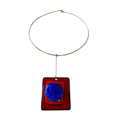 Pierre Cardin Pierre Cardin Silver Enamel and Glass Pendant Necklace French circa 1965